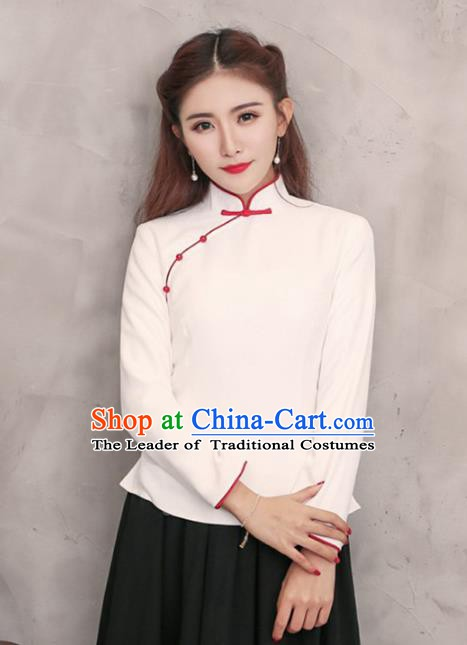 Traditional Chinese National Costume Hanfu Plated Buttons White Shirts, China Tang Suit Cheongsam Upper Outer Garment Blouse for Women