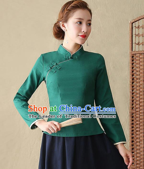 Traditional Chinese National Costume Hanfu Plated Buttons Shirts, China Tang Suit Cheongsam Upper Outer Garment Green Blouse for Women