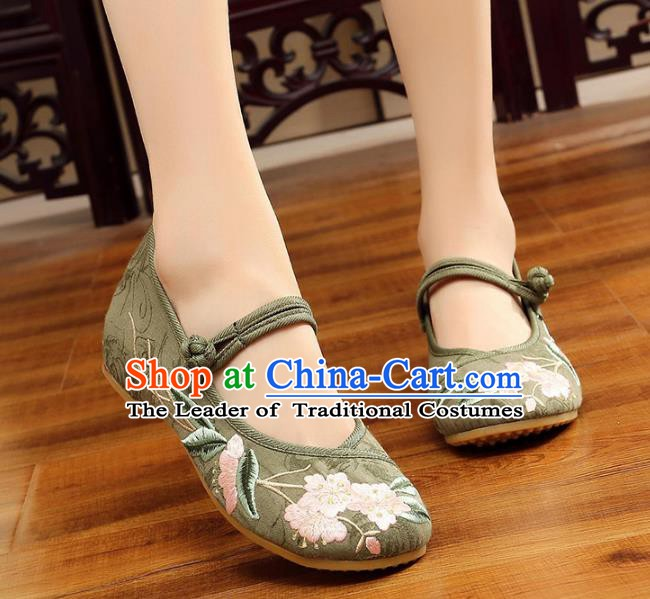 Traditional Chinese National Hanfu Embroidery Begonia Green Shoes, China Princess Embroidered Shoes for Women