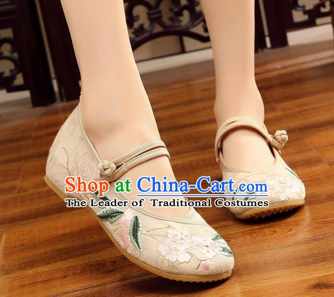 Traditional Chinese National Hanfu Embroidery Begonia White Shoes, China Princess Embroidered Shoes for Women