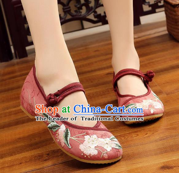 Traditional Chinese National Hanfu Embroidery Begonia Red Shoes, China Princess Embroidered Shoes for Women