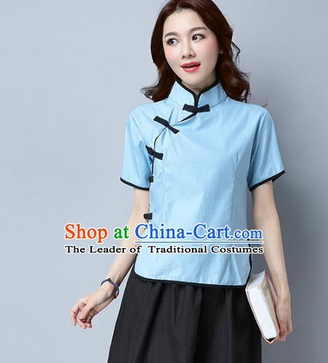 Traditional Chinese National Costume Hanfu Blue Qipao Blouse, China Tang Suit Cheongsam Upper Outer Garment Shirt for Women