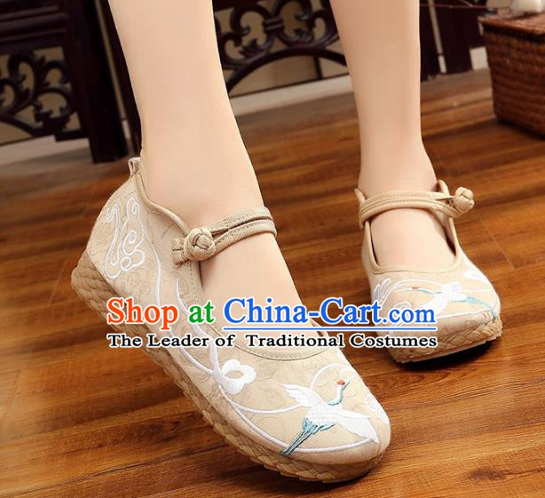 Traditional Chinese National Hanfu White Embroidery Crane Shoes, China Princess Embroidered Shoes for Women