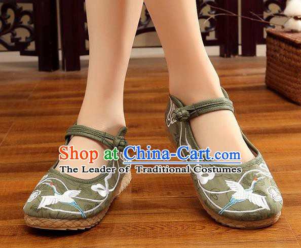 Traditional Chinese National Hanfu Green Embroidery Crane Shoes, China Princess Embroidered Shoes for Women
