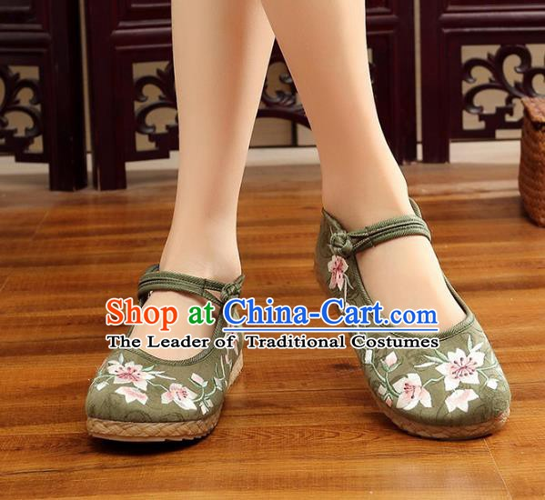 Traditional Chinese National Hanfu Embroidery Peach Blossom Green Shoes, China Princess Embroidered Shoes for Women