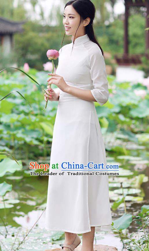 Traditional Chinese National Costume Hanfu White Qipao Dress, China Tang Suit Cheongsam for Women