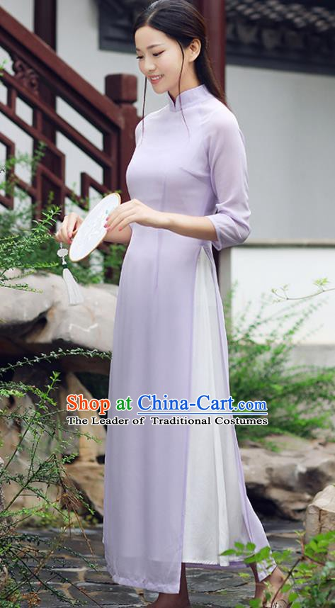 Traditional Chinese National Costume Hanfu Purple Qipao Dress, China Tang Suit Cheongsam for Women