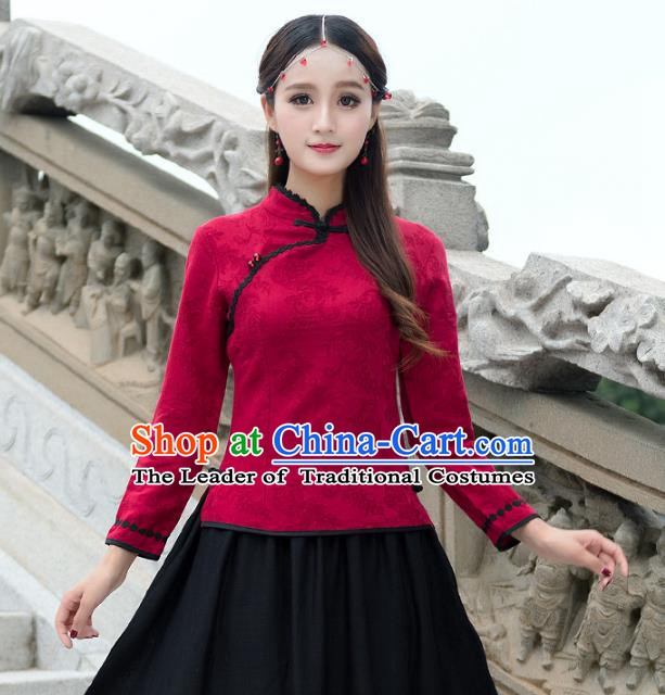 Traditional Chinese National Costume Hanfu Embroidery Red Lace Blouse, China Tang Suit Cheongsam Upper Outer Garment Shirt for Women
