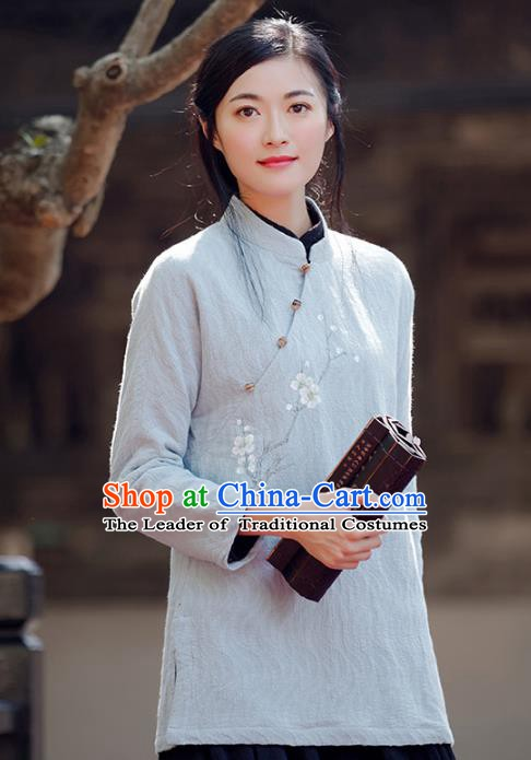 Traditional Chinese National Costume Hanfu Printing Wintersweet Grey Blouse, China Tang Suit Cheongsam Upper Outer Garment Shirt for Women