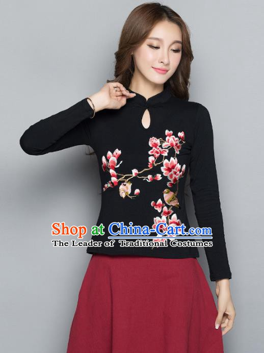 Traditional Chinese National Costume Hanfu Embroidered Magnolia Black Blouse, China Tang Suit Cheongsam Upper Outer Garment Shirt for Women