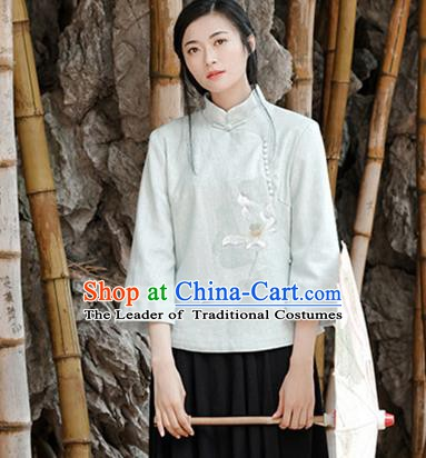 Traditional Chinese National Costume Hanfu Painting Lotus Blouse, China Tang Suit Cheongsam Upper Outer Garment Shirt for Women