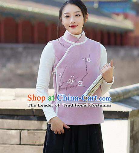 Traditional Chinese National Costume Hanfu Painting Wintersweet Woolen Vests, China Tang Suit Waistcoat for Women