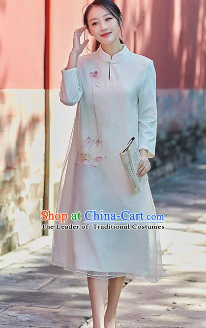 Traditional Chinese National Costume Hanfu Printing Lotus White Qipao, China Tang Suit Cheongsam Dress for Women