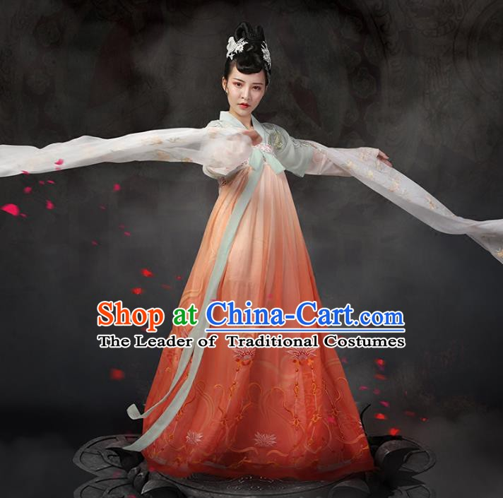 Traditional Chinese Ancient Palace Lady Dance Costume, China Tang Dynasty Imperial Princess Embroidered Clothing for Women