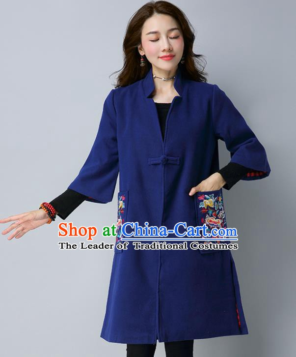 Traditional Chinese National Costume Hanfu Embroidered Blue Coat, China Tang Suit Woolen Dust Coat for Women