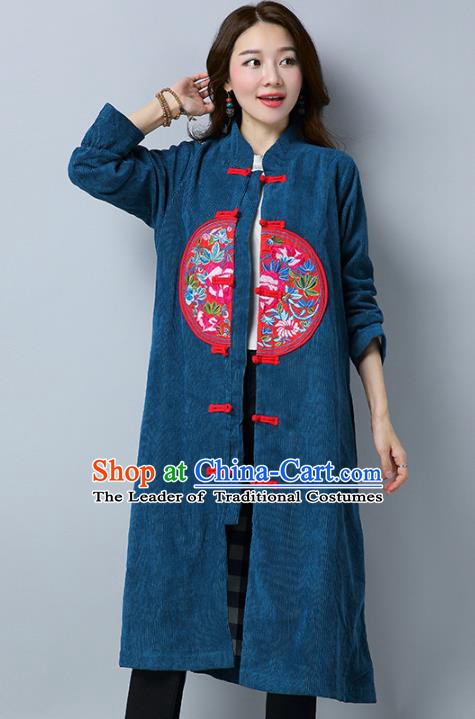 Traditional Chinese National Costume Hanfu Embroidered Green Coat, China Tang Suit Plated Buttons Dust Coat for Women