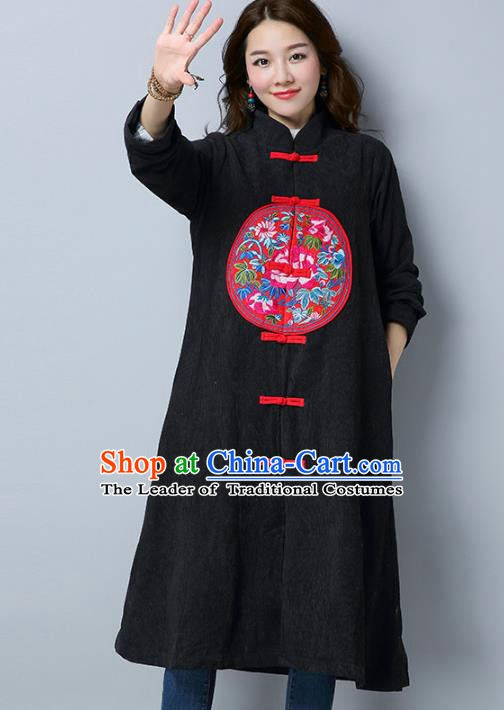 Traditional Chinese National Costume Hanfu Embroidered Black Coat, China Tang Suit Plated Buttons Dust Coat for Women