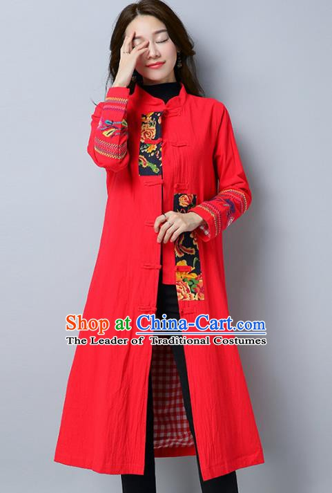 Traditional Chinese National Costume Hanfu Embroidered Red Coat, China Tang Suit Outer Garment Dust Coat for Women
