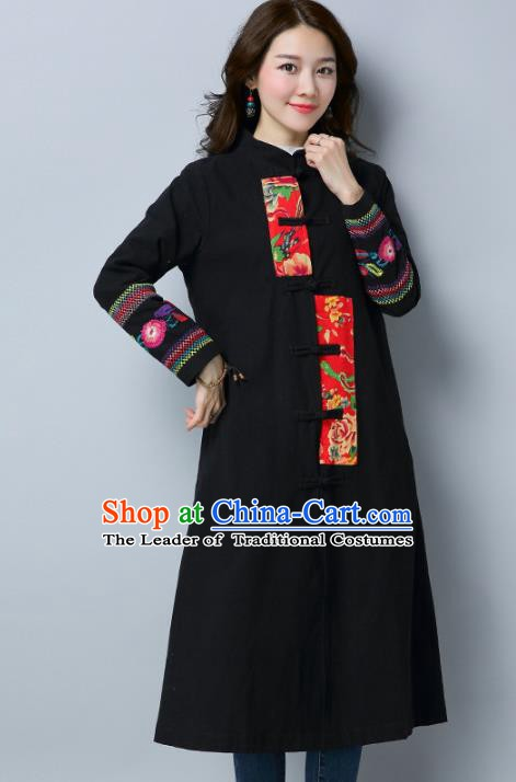Traditional Chinese National Costume Hanfu Embroidered Black Coat, China Tang Suit Outer Garment Dust Coat for Women