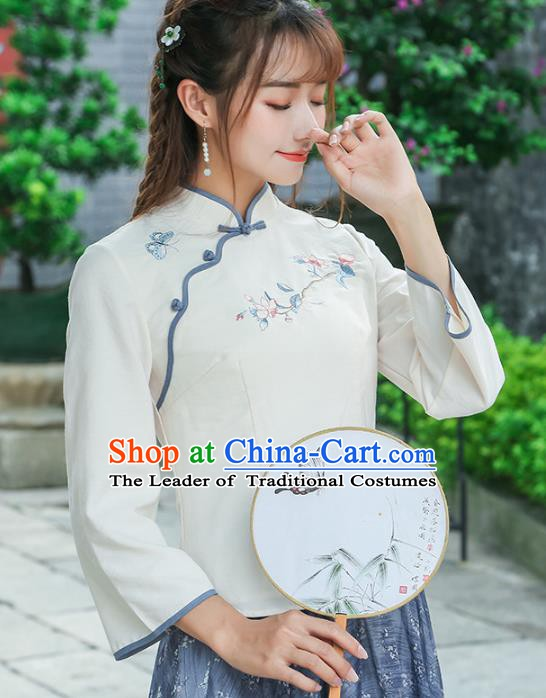Traditional Chinese National Costume Hanfu Embroidery White Blouse, China Tang Suit Cheongsam Upper Outer Garment Shirt for Women
