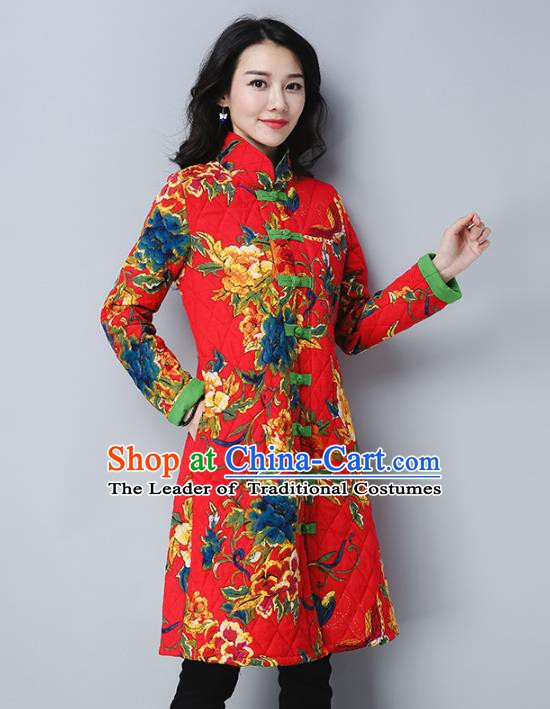 Traditional Chinese National Costume Hanfu Plated Buttons Red Cotton-padded Coats, China Tang Suit Coat for Women