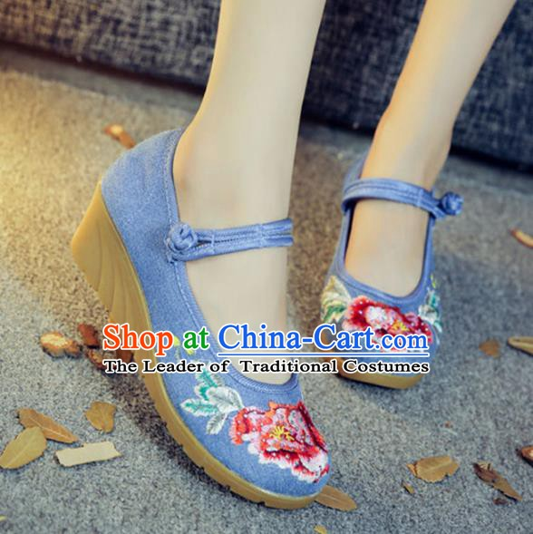 Traditional Chinese National Hanfu Embroidery Peony Blue Shoes, China Embroidered Shoes for Women