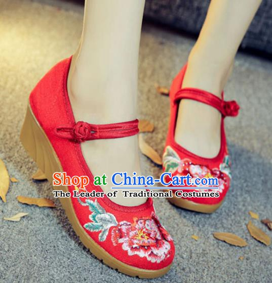 Traditional Chinese National Hanfu Embroidery Peony Red Shoes, China Embroidered Shoes for Women
