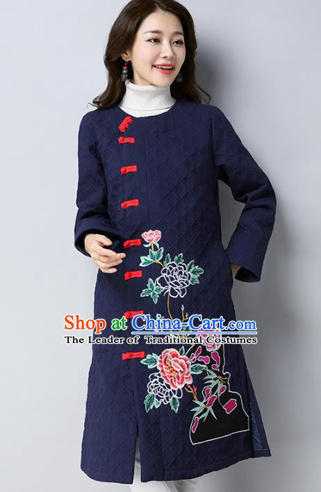 Traditional Chinese National Costume Hanfu Navy Embroidered Dust Coat, China Tang Suit Outer Garment Coat for Women