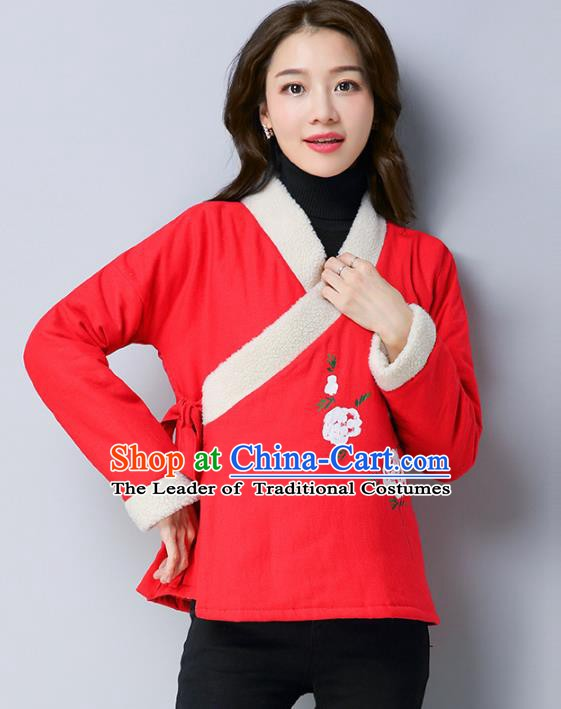 Traditional Chinese National Costume Hanfu Slant Opening Red Blouse, China Tang Suit Cheongsam Upper Outer Garment Shirt for Women