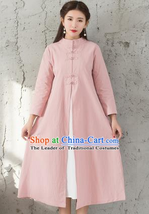 Traditional Chinese National Costume Hanfu Pink Dust Coat, China Tang Suit Outer Garment Coat for Women