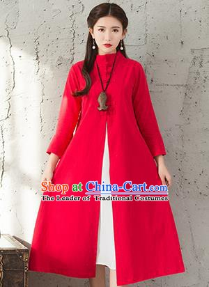 Traditional Chinese National Costume Hanfu Red Dust Coat, China Tang Suit Outer Garment Coat for Women