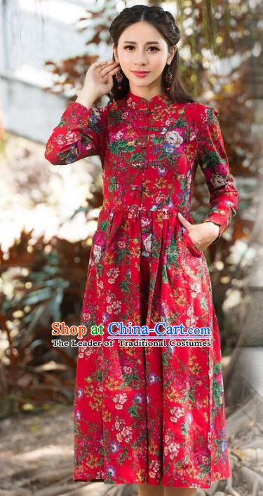Traditional Chinese National Costume Hanfu Red Qipao, China Tang Suit Cheongsam Dress for Women