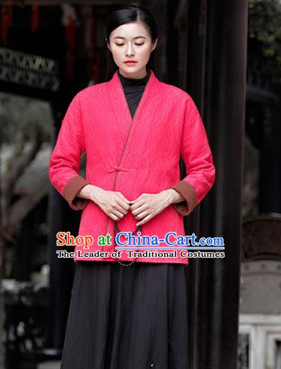 Traditional Chinese National Costume Hanfu Slant Opening Pink Blouse, China Tang Suit Cheongsam Upper Outer Garment Shirt for Women