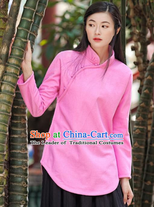 Traditional Chinese National Costume Hanfu Pink Blouse, China Tang Suit Cheongsam Upper Outer Garment Shirt for Women