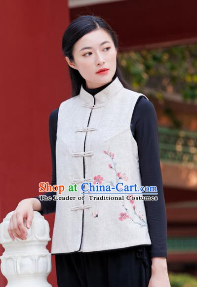 Traditional Chinese National Costume Hanfu Printing Wintersweet Vests, China Tang Suit Waistcoat for Women