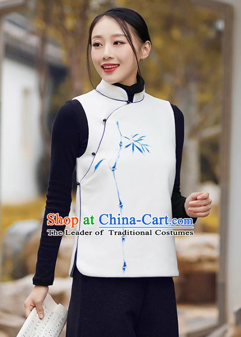 Traditional Chinese National Costume Hanfu Printing Bamboo White Vests, China Tang Suit Waistcoat for Women
