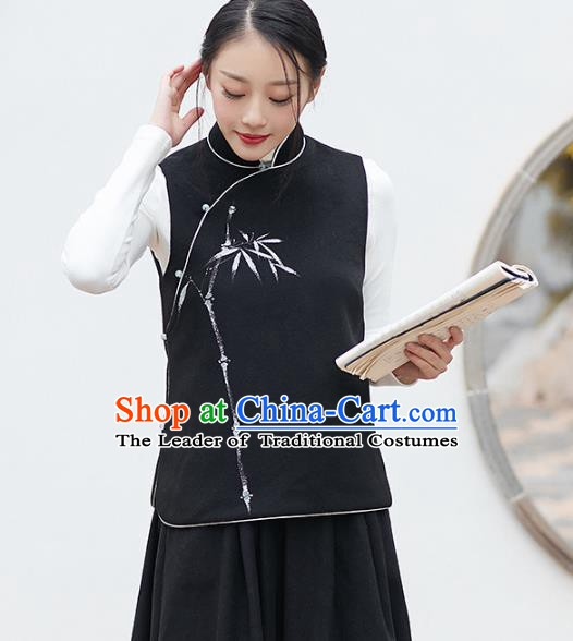 Traditional Chinese National Costume Hanfu Printing Bamboo Black Vests, China Tang Suit Waistcoat for Women