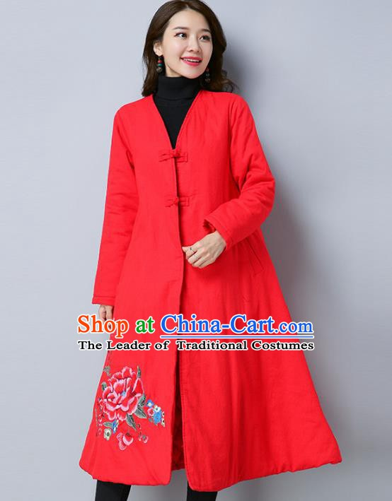 Traditional Chinese National Costume Hanfu Embroidered Red Cotton-padded Coat, China Tang Suit Coat for Women