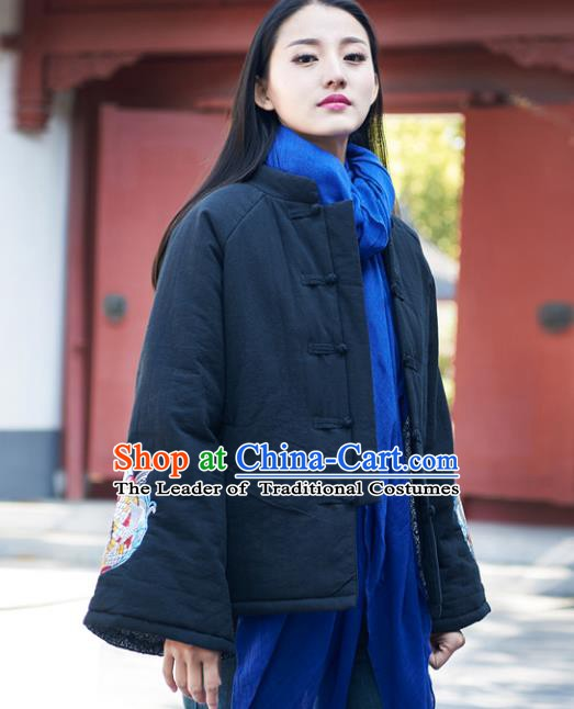 Traditional Chinese National Costume Hanfu Embroidered Black Cotton-padded Jacket, China Tang Suit Red Coat for Women