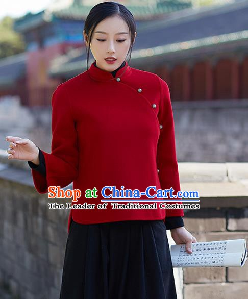 Traditional Chinese National Costume Hanfu Red Woolen Blouse, China Tang Suit Cheongsam Upper Outer Garment Shirt for Women