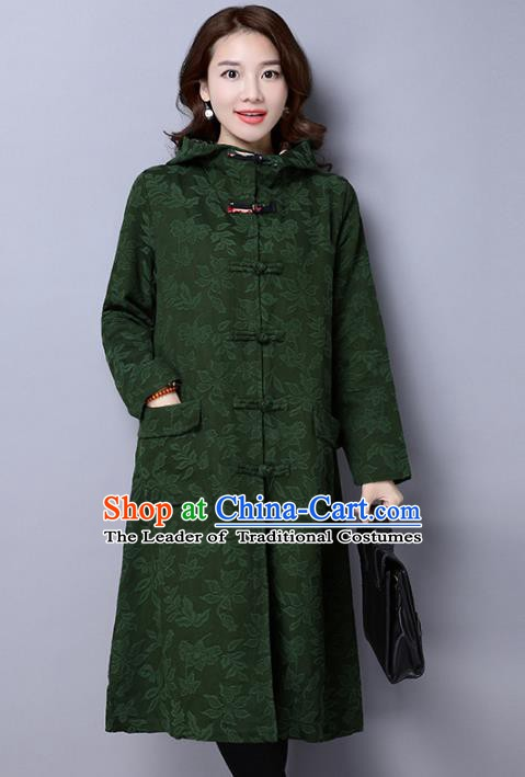 Traditional Chinese National Costume Hanfu Green Dust Coat, China Tang Suit Outer Garment Coat for Women