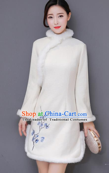 Traditional Chinese National Costume Hanfu Embroidery Plum Blossom Qipao, China Tang Suit Cheongsam Dress for Women