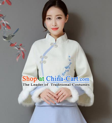 Traditional Chinese National Costume Hanfu Qipao Embroidery Plum Blossom Coat, China Tang Suit Cheongsam Upper Outer Garment Shirt for Women