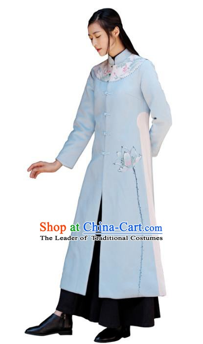 Traditional Chinese National Costume Hanfu Painting Lotus Qipao Coat, China Tang Suit Cheongsam Dust Coat for Women