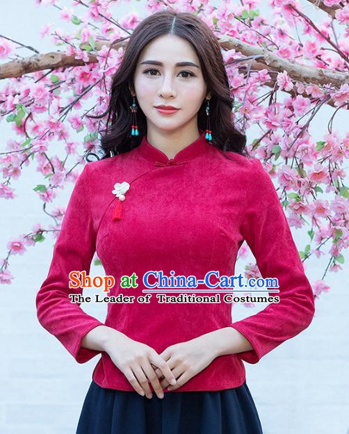 Traditional Chinese National Costume Hanfu Qipao Shirts, China Tang Suit Cheongsam Blouse for Women
