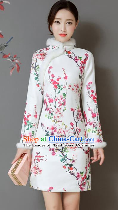 Traditional Chinese National Costume Hanfu Printing Wintersweet White Qipao Dress, China Tang Suit Cheongsam for Women