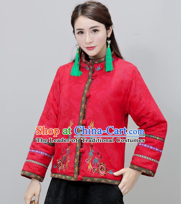 Traditional Chinese National Costume Hanfu Embroidered Red Jacket, China Tang Suit Coat for Women
