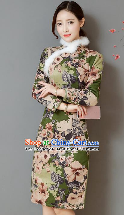 Traditional Chinese National Costume Hanfu Printing Green Qipao, China Tang Suit Cheongsam Dress for Women