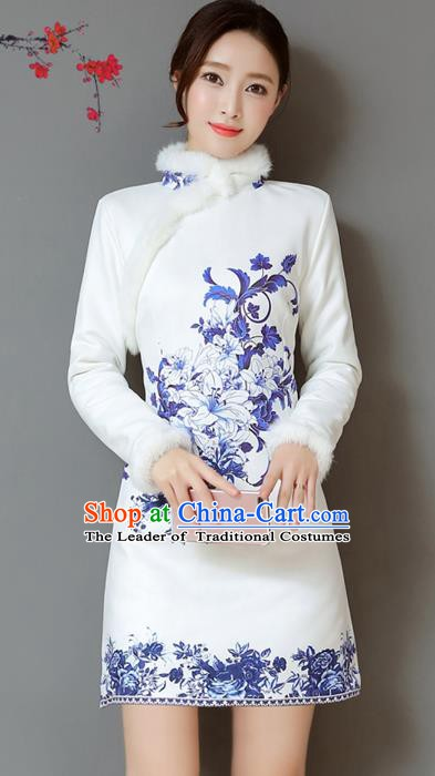 Traditional Chinese National Costume Hanfu Printing Lily Flower Qipao Dress, China Tang Suit Cheongsam for Women