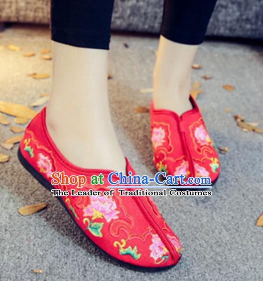 Traditional Chinese National Hanfu Embroidery Peony Red Shoes, China Ancient Embroidered Shoes for Women